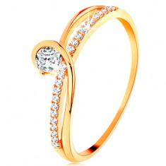 Zlatý prsten 585 s rozdělenými propletenými rameny, čirý zirkon