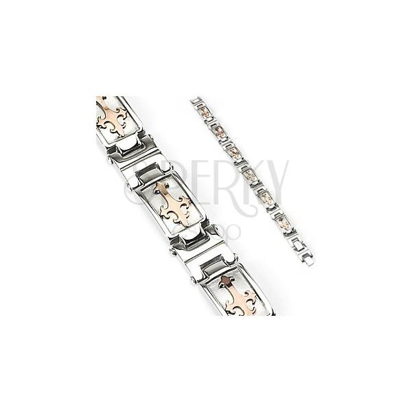Ocelový náramek stříbrné barvy s liliovým křížem ve zlatém odstínu
