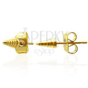 Náušnice z oceli - zlaté špičky
