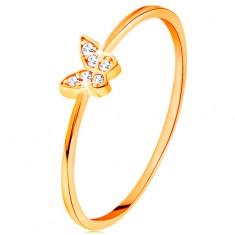 Zlatý prsten 585 - motýlek zdobený kulatými čirými zirkony GG135.05/22/26