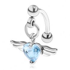 Piercing do obočí z oceli 316L, srdce z modrého zirkonu, andělská křídla