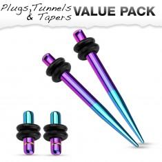 Set dvou expanderů a dvou plugů z oceli 316L, modrá a fialová barva