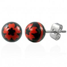 Ocelové náušnice černé kuličky - znak červený květ M18.19