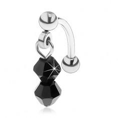 Ocelový piercing do obočí, dva černé korálky s broušeným povrchem