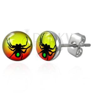 Ocelové náušnice symbol pavouka