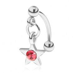 Ocelový piercing do obočí, pěticípá hvězdička s růžovým zirkonem