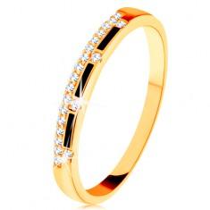Prsten ze žlutého 14K zlata - pásy černé glazury, čirá zirkonová linie