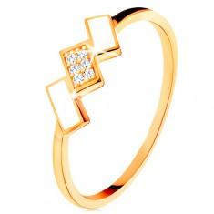 Zlatý prsten 585 - šikmé obdélníky pokryté bílou glazurou a zirkony