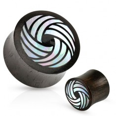 Černý dřevěný plug, sedlový, zahnuté linie z perleti bílé barvy