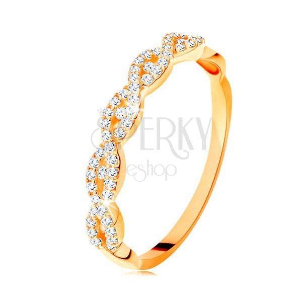 Blýskavý prsten ze žlutého 14K zlata - rozdělená propletená ramena, zirkony