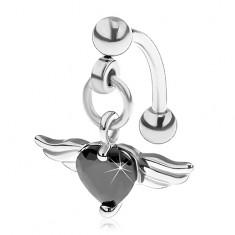 Piercing do obočí z oceli 316L, černé srdce ze zirkonu, andělská křídla