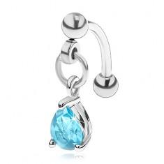 Ocelový piercing do obočí s přívěskem, modrá zirkonová kapka