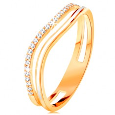 Prsten ze žlutého 14K zlata, zvlněná ramena s výřezem uprostřed, glazura a zirkony