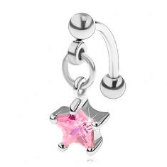 Piercing do obočí z chirurgické oceli, zirkonová hvězdička růžové barvy