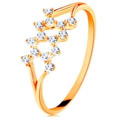 Zlatý prsten 585 - rozdělená zahnutá ramena, vzor cik-cak ze zirkonů