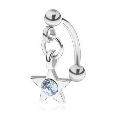 Ocelový piercing do obočí, pěticípá hvězdička, kulatý modrý zirkonek