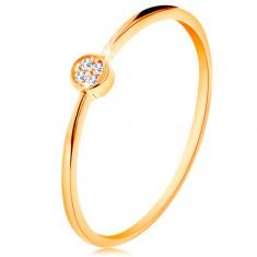 Prsten ve žlutém zlatě 585 - kruh vykládaný kulatými zirkony čiré barvy