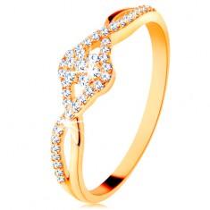 Zlatý prsten 585 - propletená rozdvojená ramena, čirý zirkonový kvítek