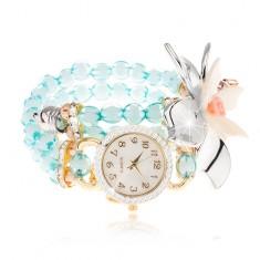 Náramkové hodinky z průhledných modrých korálků, ciferník se zirkony, velký květ