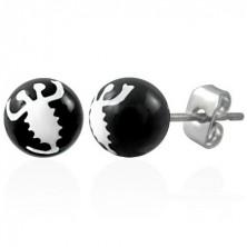 Černé náušnice z oceli - bílý škorpion