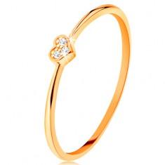 Prsten ze žlutého 14K zlata - srdíčko zdobené kulatými čirými zirkony