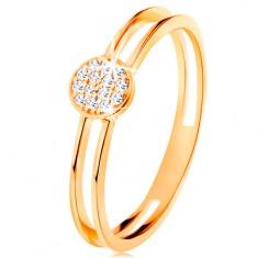 Prsten ve žlutém zlatě 585, tenká zdvojená ramena, kruh s čirými zirkony