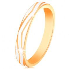 Zlatý prsten 585 - zvlněné pásy z lesklé bílé glazury, hladký povrch