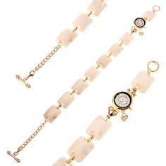 Náramkové hodinky, vypouklé obdélníky s béžovo-hnědým mramorovým vzorem
