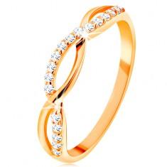 Prsten ze žlutého 14K zlata - propletené vlnky - hladká a zirkonová