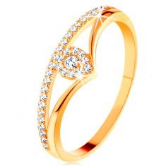 Zlatý prsten 585 - rozdvojená zahnutá ramena, čirá zirkonová kapka