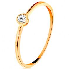 Prsten ve žlutém zlatě 585 - kulatý čirý zirkon v lesklé objímce