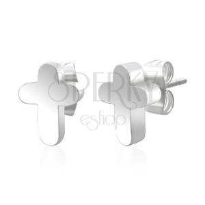 Náušnice z chirurgické oceli kříž