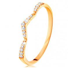 Prsten ze žlutého 14K zlata - třpytivý pás, jemně zalomený do špičky