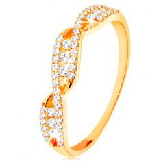 Zlatý prsten 585 - propletená zvlněná ramena, kulaté čiré zirkony