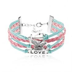 Šňůrkový náramek, modrá a růžová barva, kotva, motýl, známka s nápisem