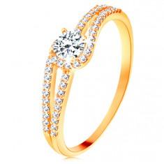 Zlatý prsten 585 s rozdělenými třpytivými rameny, čirý zirkon
