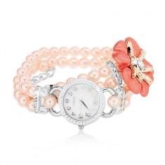 Náramkové hodinky, ciferník se zirkony, korálkový růžový náramek, květ