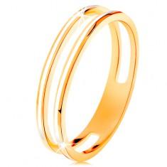 Prsten ve žlutém zlatě 585, dva úzké kroužky zdobené bílou glazurou