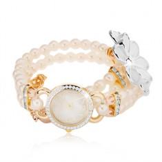 Analogové hodinky, korálkový bílý náramek, ciferník se zirkony, bílý květ