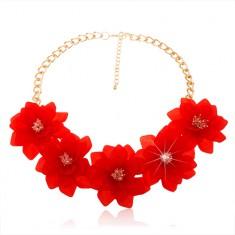 Mohutný náhrdelník, řetízek zlaté barvy, velké červené květy, karabinka