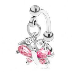 Ocelový piercing do obočí stříbrné barvy, růžový zirkonový motýl