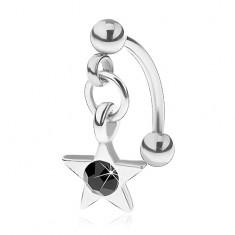 Piercing do obočí z chirurgické oceli, pěticípá hvězdička s černým zirkonem