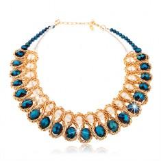 Masivní náhrdelník, modré a čiré broušené korálky, propletený řetízek