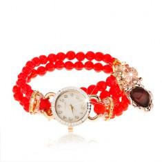 Náramkové hodinky, korálkový červený náramek, srdíčko, ciferník se zirkony