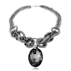 Blýskavý masivní náhrdelník šedo-modré barvy, velký broušený ovál, zirkony
