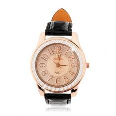 Náramkové hodinky z oceli - velký ciferník se zirkonovým lemem, černý řemínek