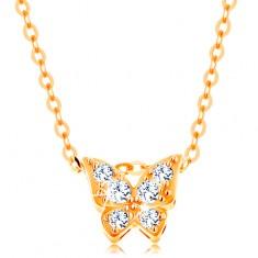 Zlatý 14K náhrdelník - lesklý řetízek, motýl zdobený čirými zirkony GG139.04 Šperky eshop