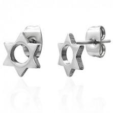 Ocelové náušnice stříbrné barvy - šesticípá hvězdička s kulatým výřezem