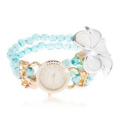 Hodinky s korálkovým modrým náramkem, ciferník se zirkony, bílý květ