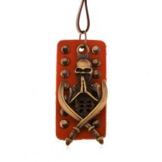 Nastavitelný kožený náhrdelník - patinovaná kostra s meči, okovaný pás kůže